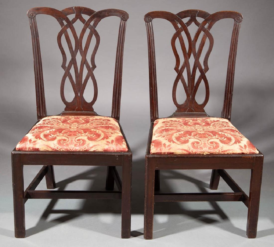 GEORGIAN CARVED MAHOGANY PAIR OF SIDE CHAIRS