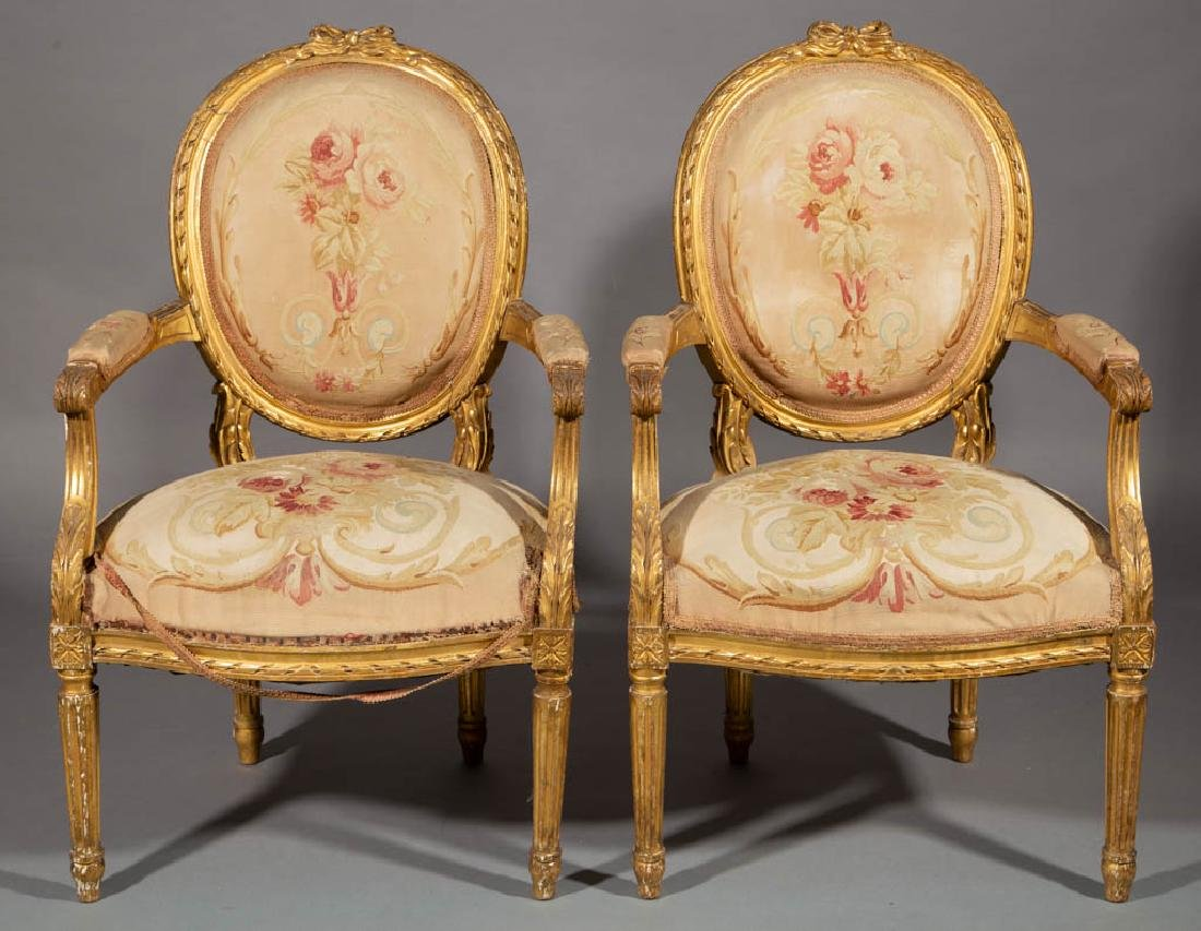 FRENCH LOUIS XV-STYLE CARVED GILTWOOD SALON / PARLOR - 2