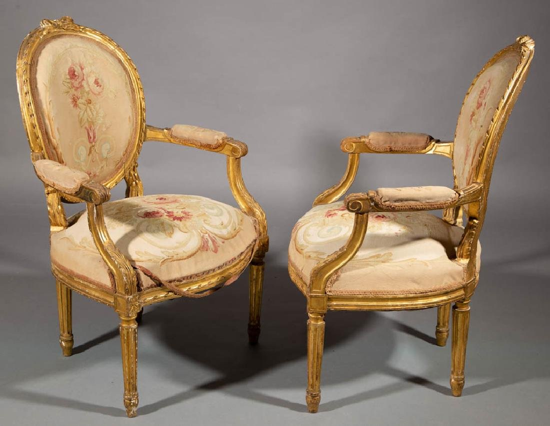 FRENCH LOUIS XV-STYLE CARVED GILTWOOD SALON / PARLOR - 3