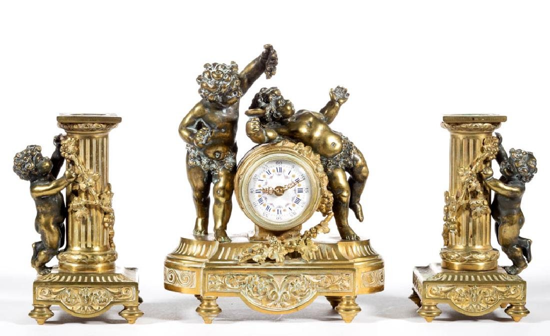 FRENCH CLASSICAL-STYLE GILT BRONZE THREE-PIECE FIGURAL