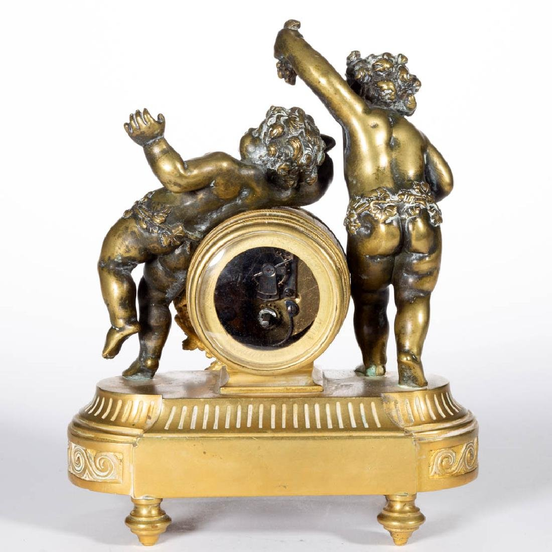 FRENCH CLASSICAL-STYLE GILT BRONZE THREE-PIECE FIGURAL - 4