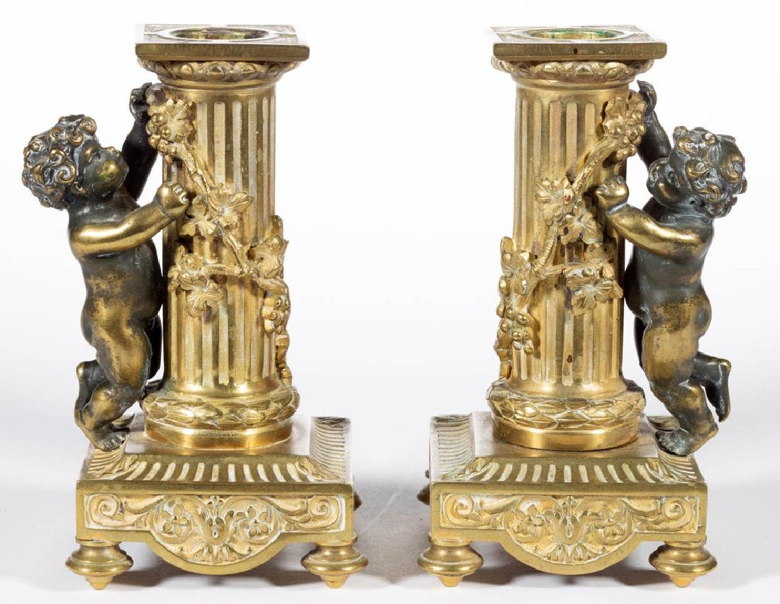 FRENCH CLASSICAL-STYLE GILT BRONZE THREE-PIECE FIGURAL - 5