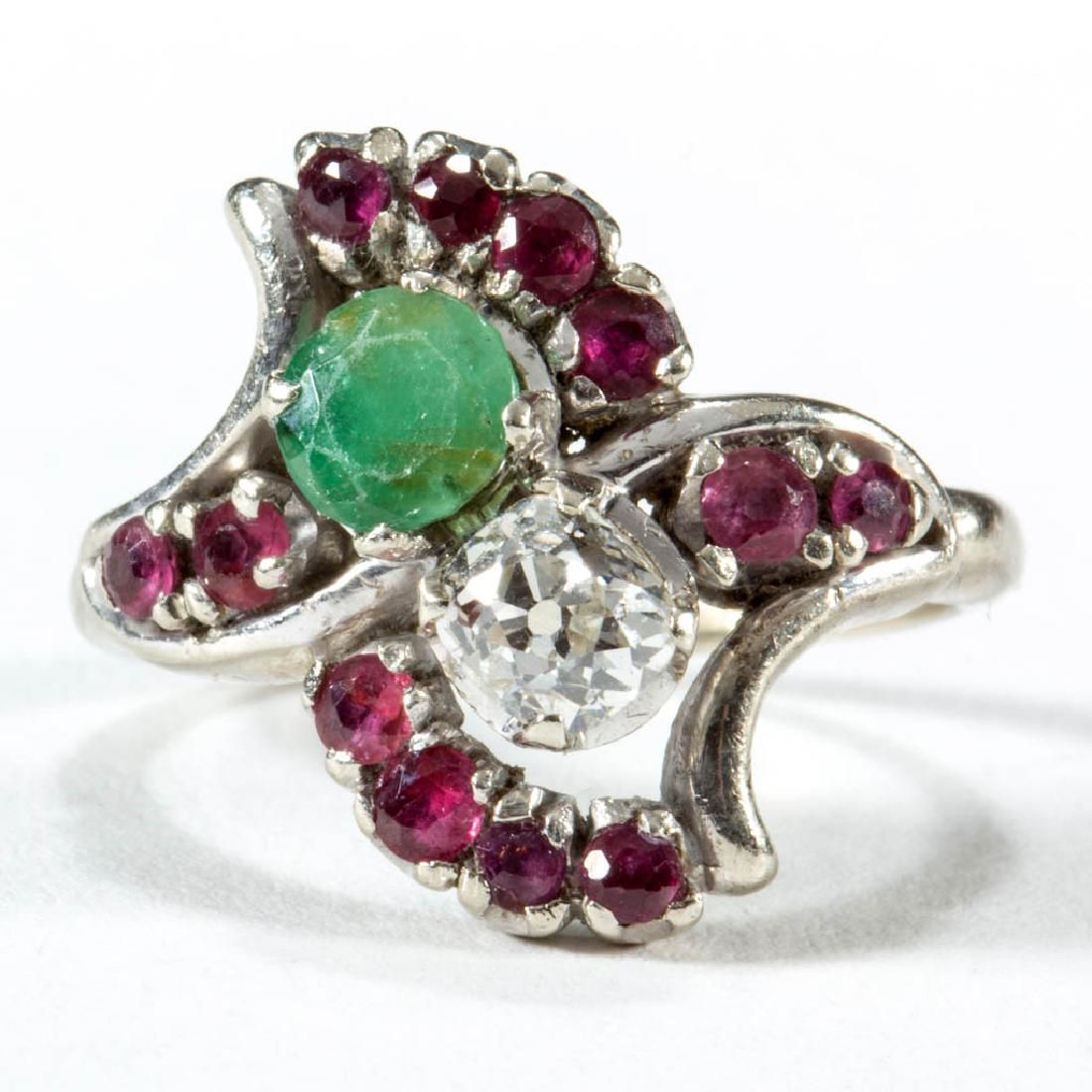 VINTAGE 14K WHITE GOLD DIAMOND, EMERALD, AND RUBY