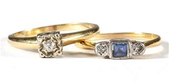 VINTAGE 18K AND 14K YELLOW GOLD GEMSTONEACCENTED