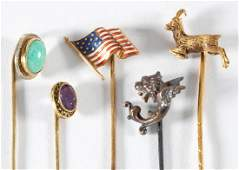 ANTIQUE  VINTAGE 14K YELLOW GOLD STICK PINS LOT OF