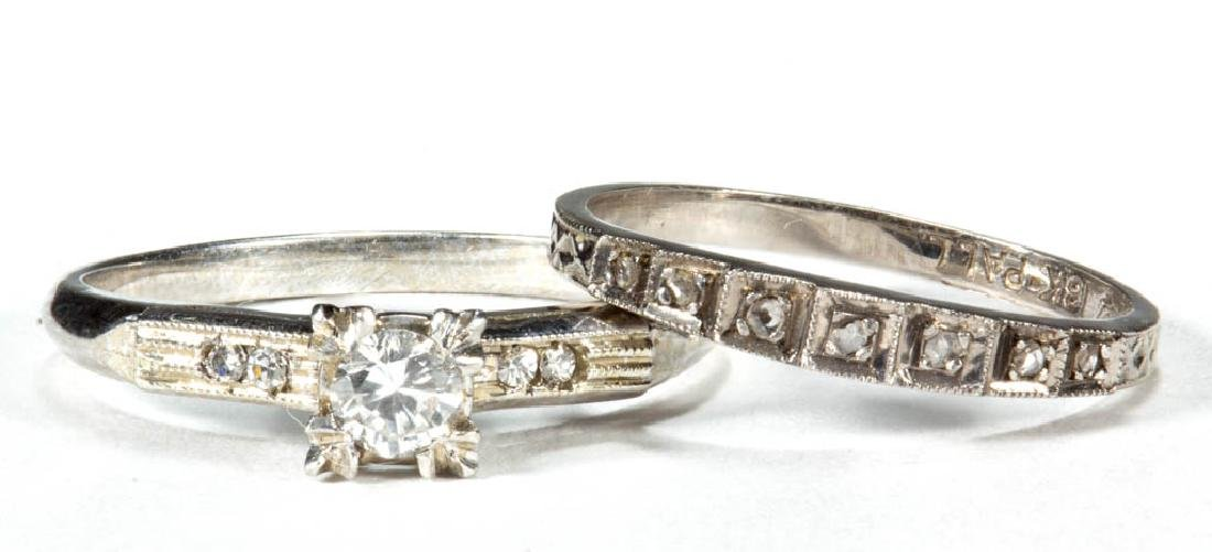 VINTAGE 14K WHITE GOLD DIAMOND SOLITAIRE LADY'S RING