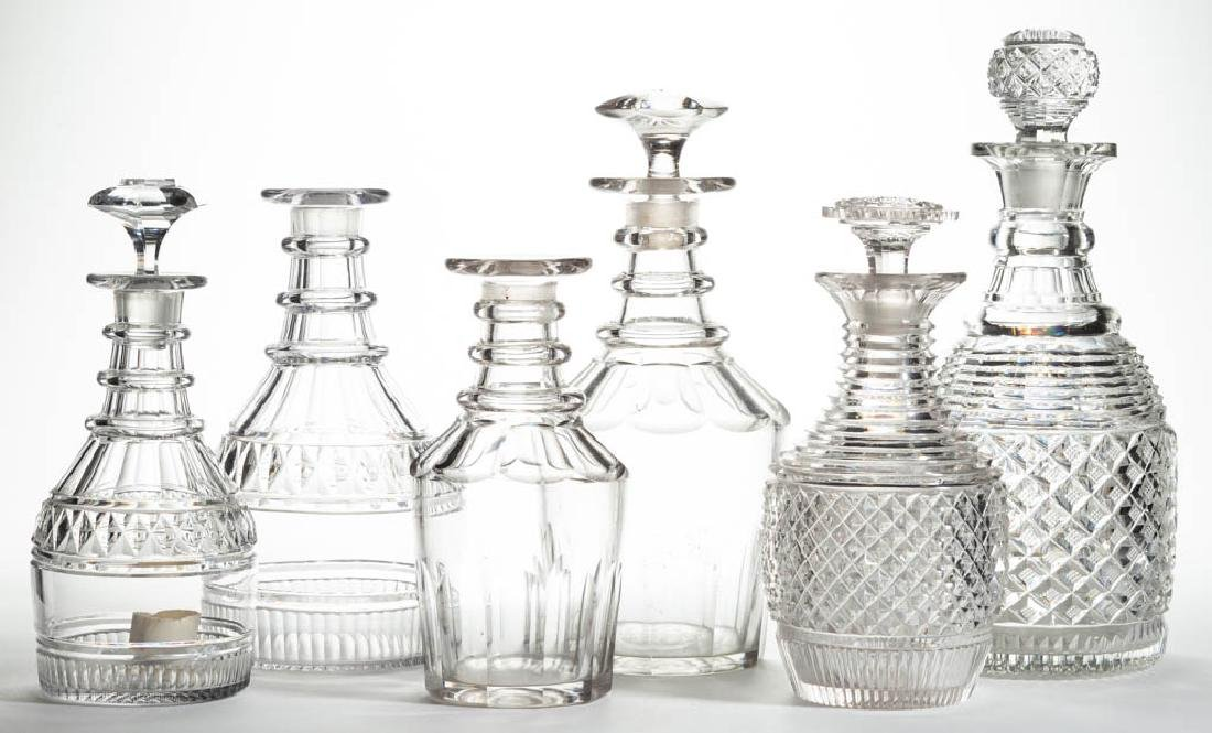ASSORTED EARLY CUT GLASS DECANTERS, LOT OF SIX