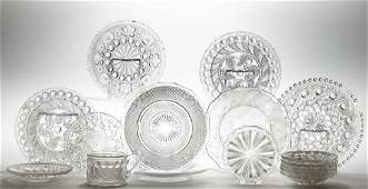 ASSORTED PRESSED LACY GLASS ARTICLES, LOT OF 16