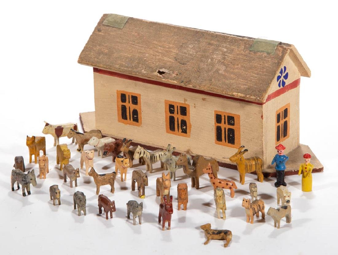GERMAN PAINTED WOOD NOAH'S ARK TOY WITH MINIATURE
