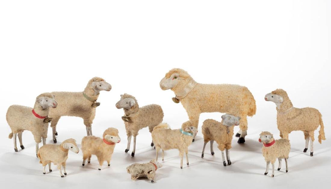 GERMAN COMPOSITION / PAPIER MACHE AND WOOD SHEEP TOYS,