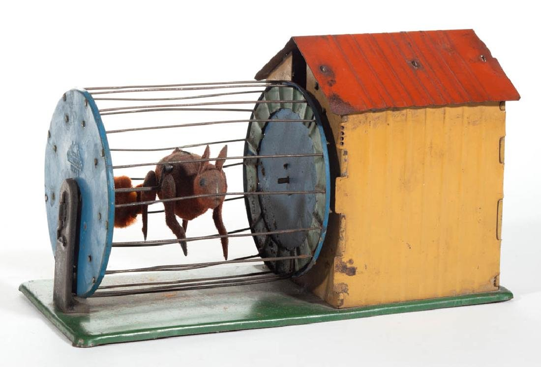 FERNAND MARTIN FRENCH SQUIRREL-IN-CAGE TIN MECHANICAL