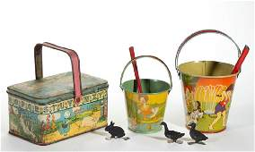 VINTAGE LITHOGRAPHED AND ENAMELED TIN TOYS AND