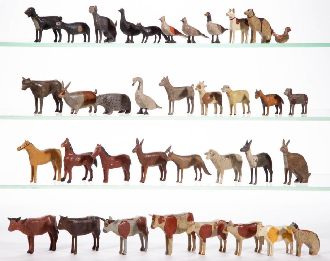 GERMAN PAINTED WOOD ANIMAL FIGURES, LOT OF 36
