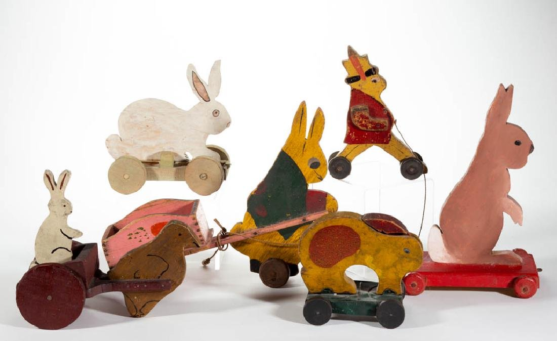 PAINTED WOOD RABBIT PULL TOYS, LOT OF SIX