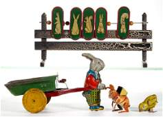 VINTAGE LITHOGRAPHED TIN TOYS, LOT OF FOUR