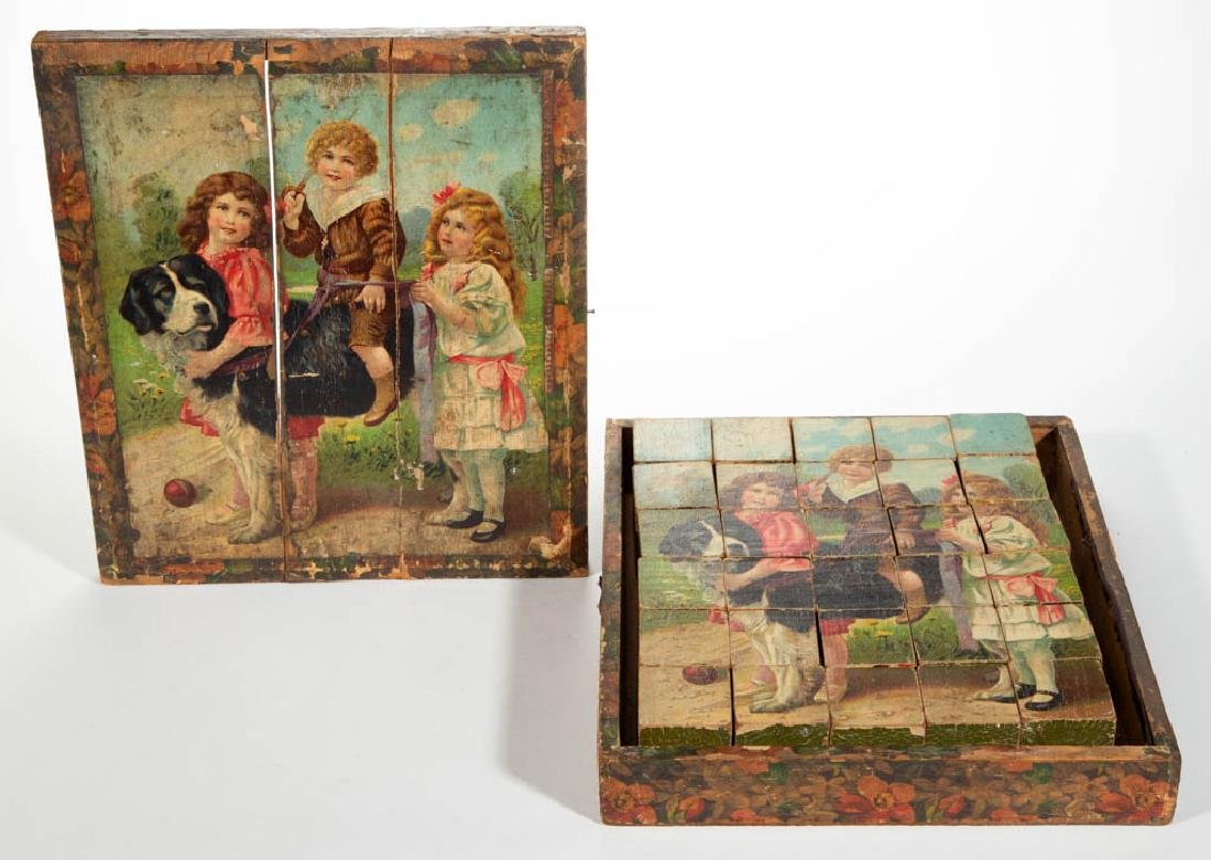 PICTORIAL LITHOGRAPHED BLOCK 30-PIECE PUZZLE WITH