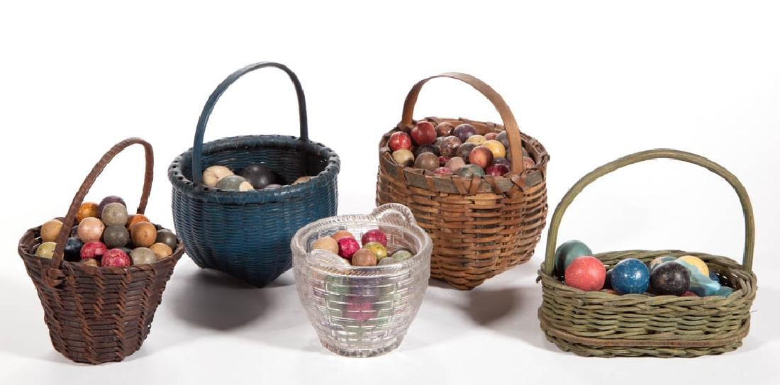 ASSORTED CLAY MARBLES IN BASKETS, UNCOUNTED LOT