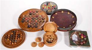AMERICAN PAINTED WOOD GAME BOARDS WITH CLAY MARBLES