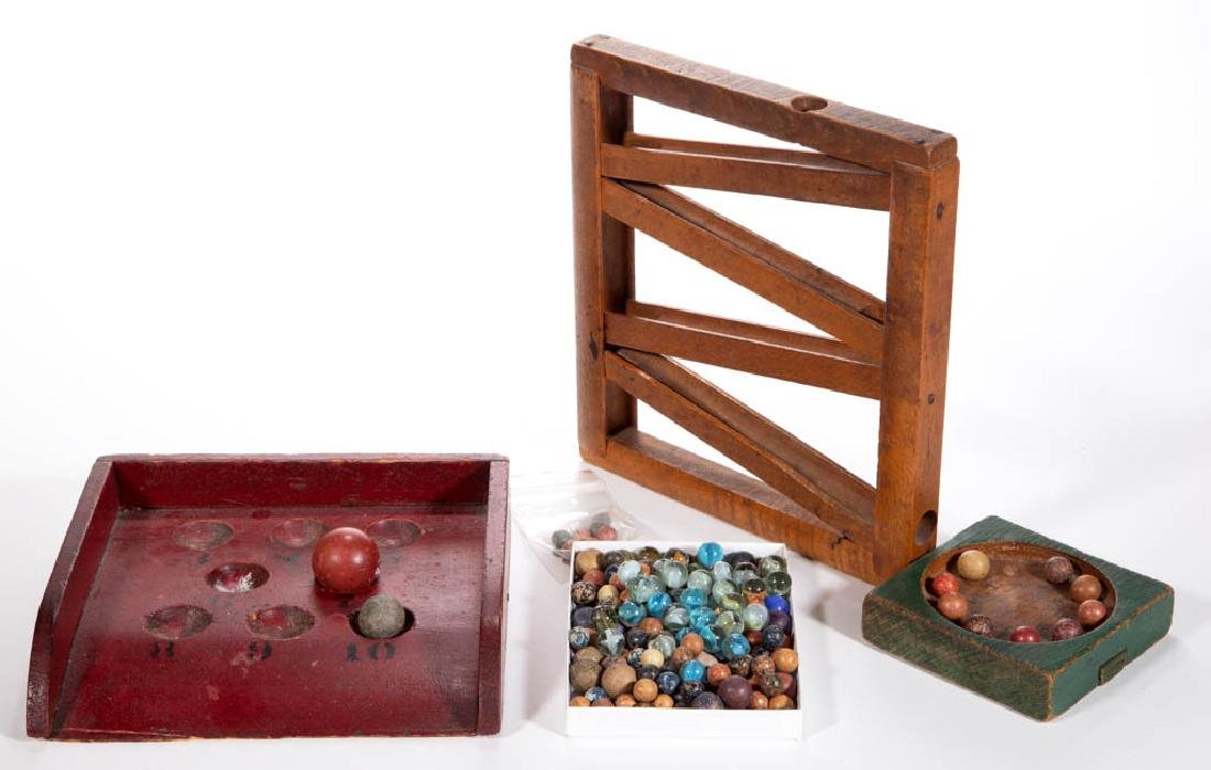 AMERICAN PAINTED WOOD GAMES WITH GLASS AND CLAY