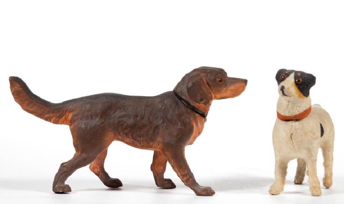 GERMAN COMPOSITION / PAPIER MACHE DOG CANDY CONTAINERS,