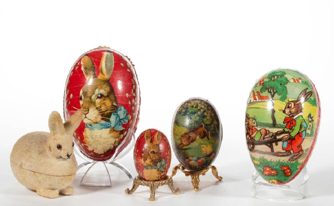 GERMAN LITHOGRAPHED MOLDED PASTEBOARD EGG CANDY