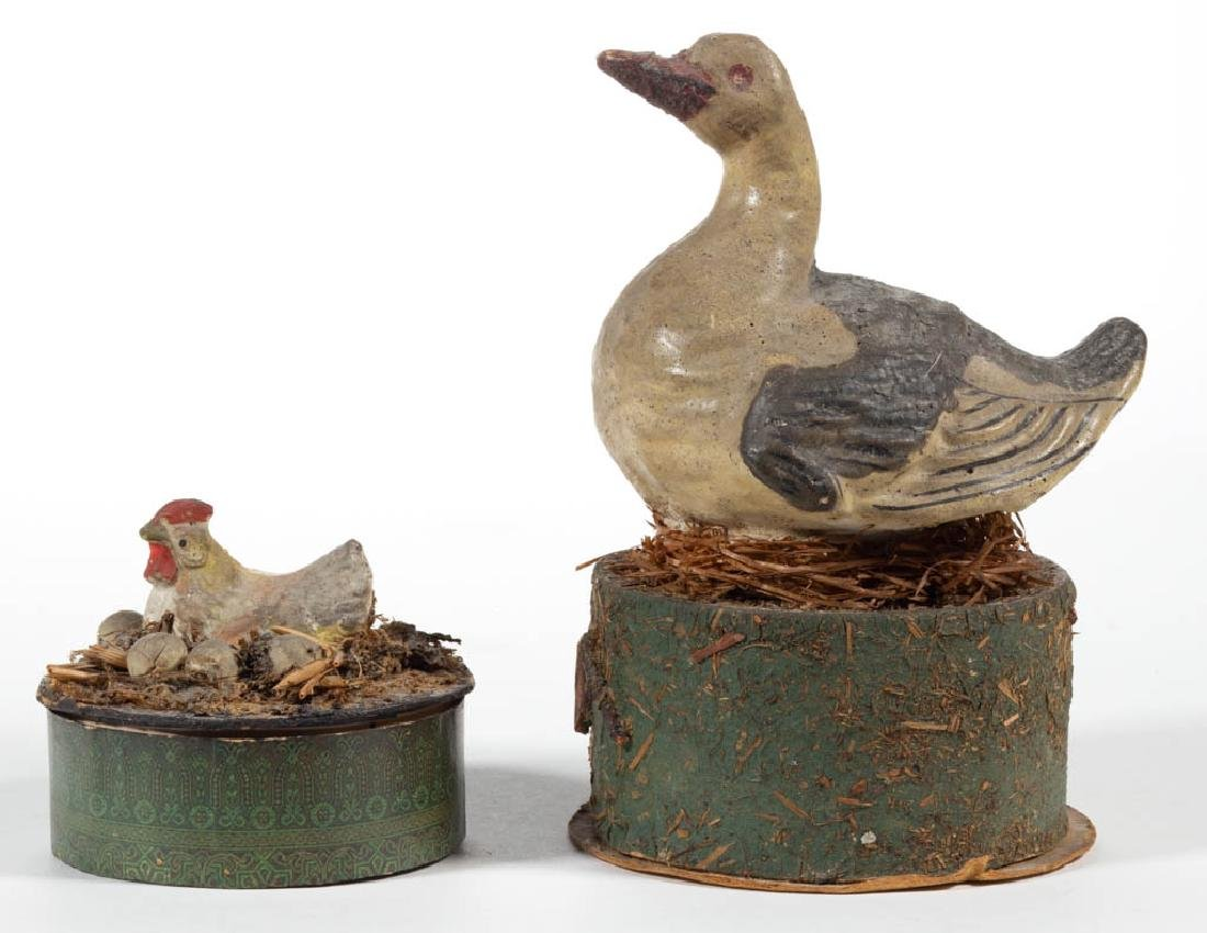 GERMAN COMPOSITION / PAPIER MACHE BIRD-ON-NEST CANDY