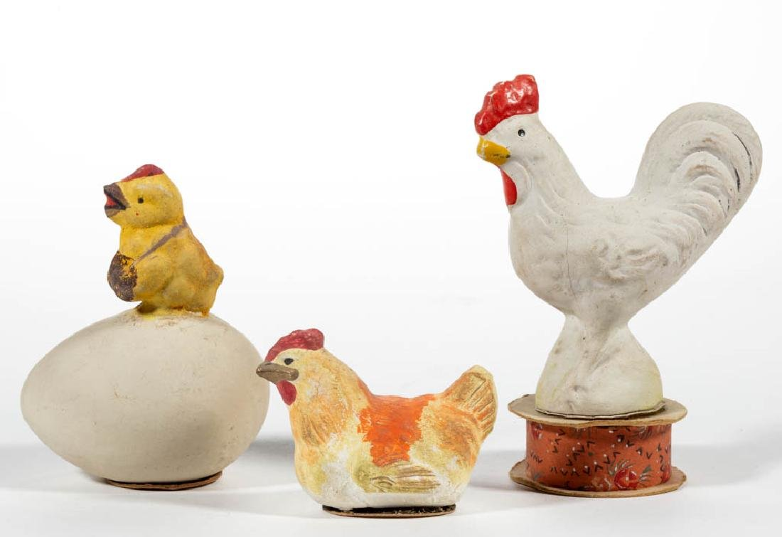 GERMAN COMPOSITION / PAPIER MACHE CHICKEN CANDY