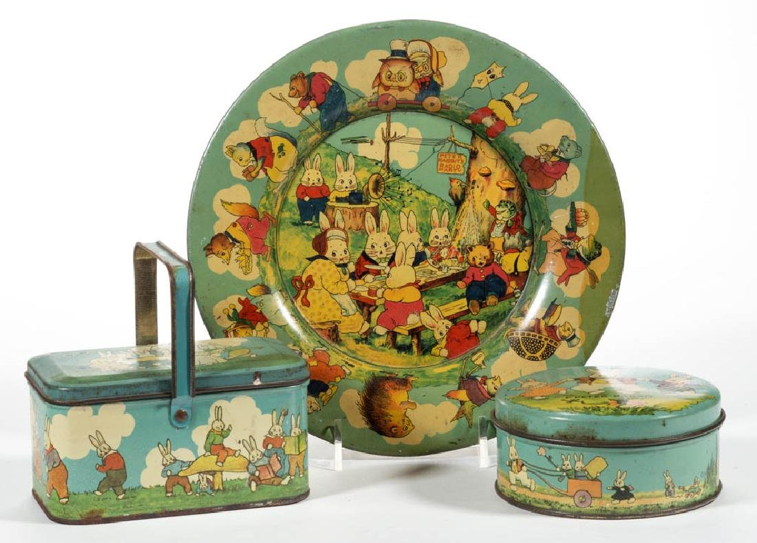 VINTAGE PETER RABBIT LITHOGRAPHED TIN ARTICLES, LOT OF