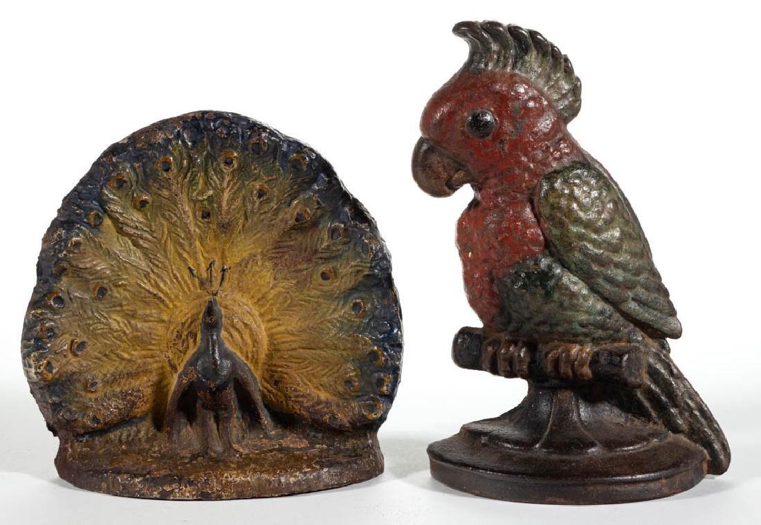 CAST-IRON FIGURAL BIRD DOORSTOPS, LOT OF THREE