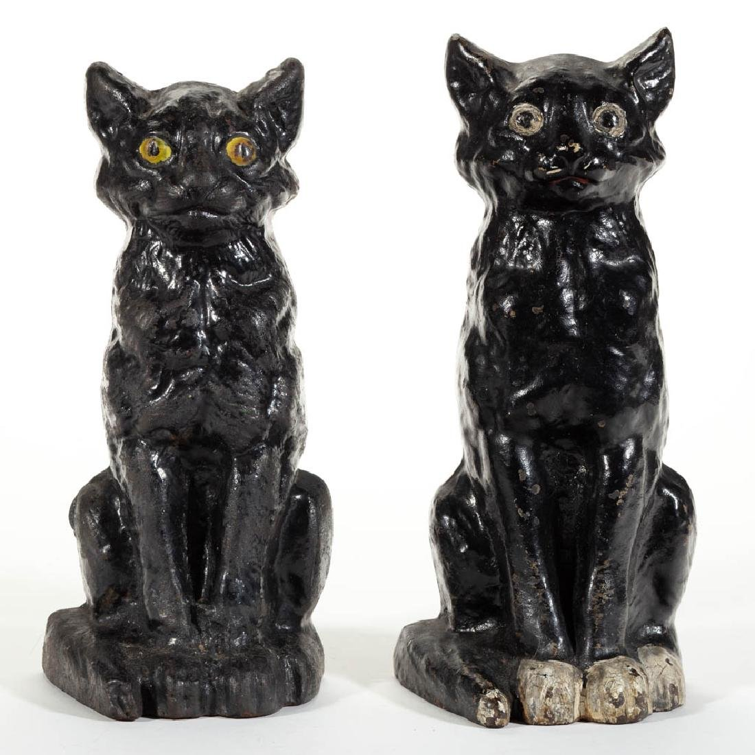 CAST-IRON FIGURAL BLACK CAT DOORSTOPS, LOT OF TWO