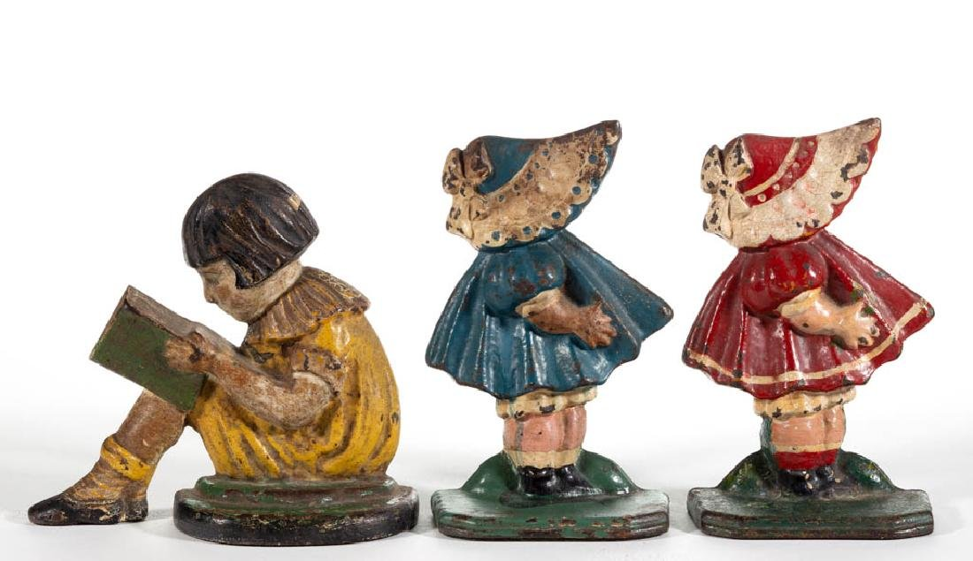CAST-IRON FIGURAL GIRL BOOKENDS, LOT OF THREE