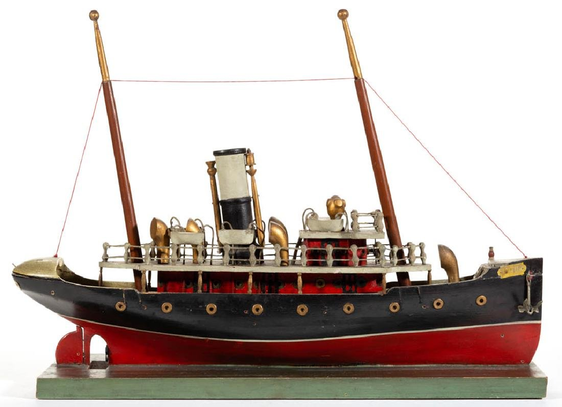 "FOLK ART CARVED AND PAINTED ""OHIO"" STEAMSHIP MODEL"