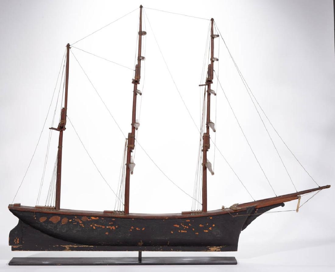 FOLK ART CARVED AND PAINTED CLIPPER SHIP MODEL