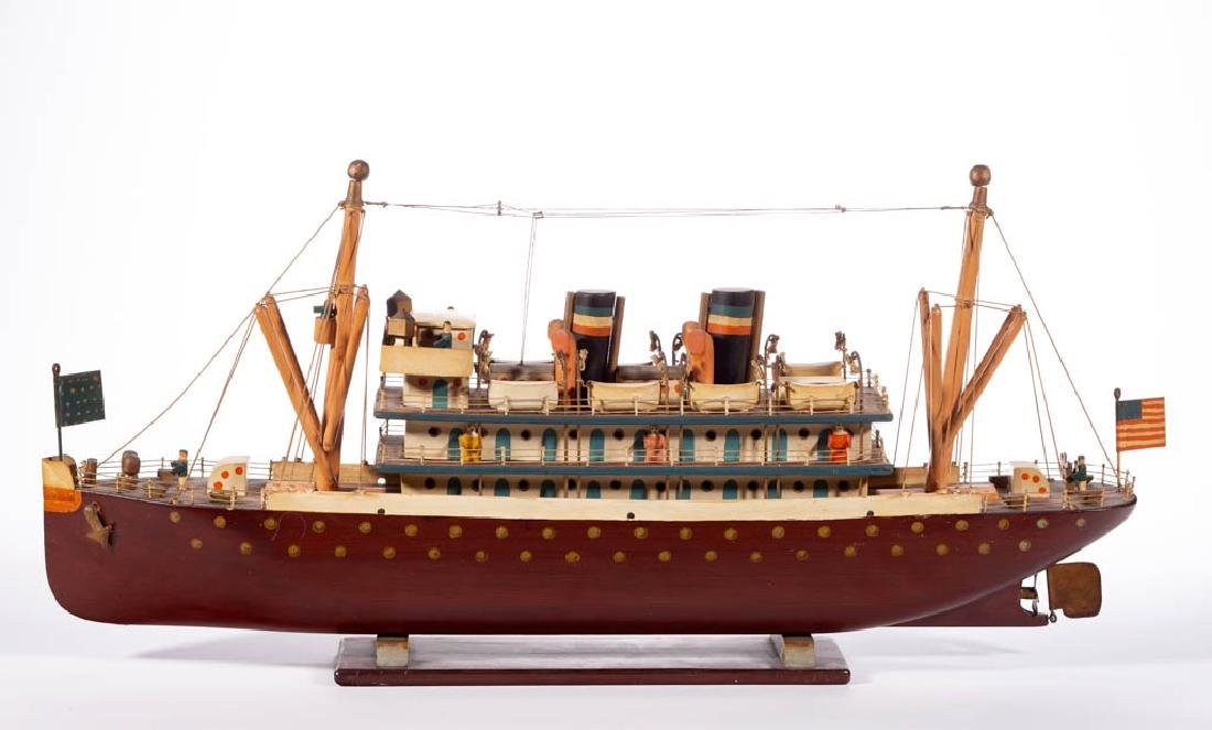 FOLK ART CARVED AND PAINTED STEAMSHIP MODEL