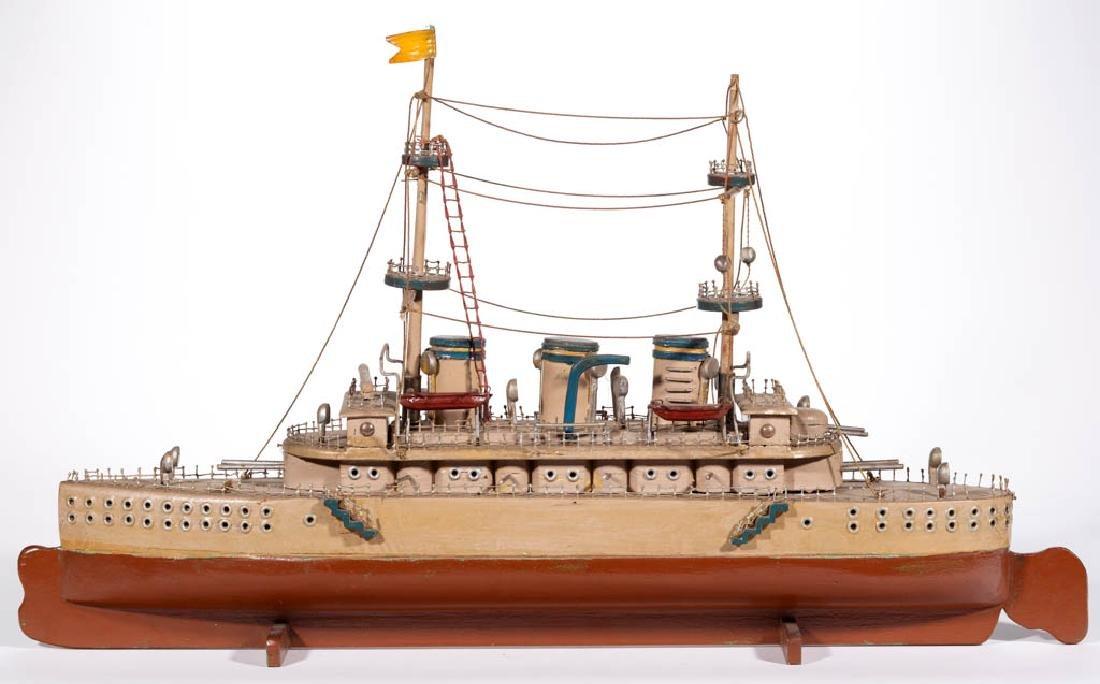 FOLK ART CARVED AND PAINTED DESTROYER SHIP MODEL