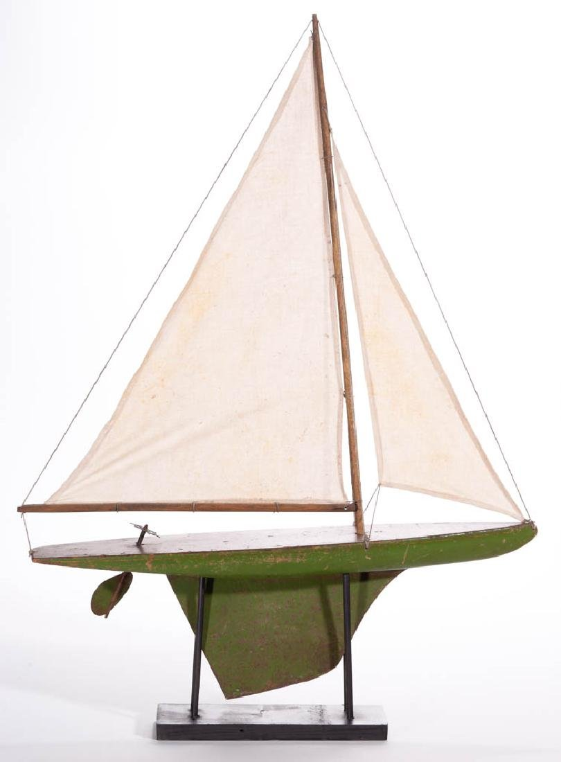 AMERICAN CARVED AND PAINTED POND / SAILBOAT MODEL