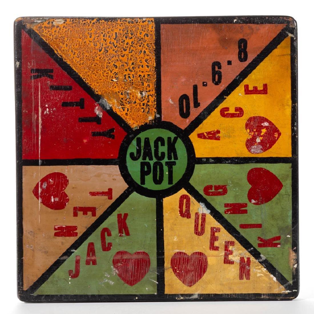 "AMERICAN FOLK ART PAINTED ""JACK POT"" GAMEBOARD"