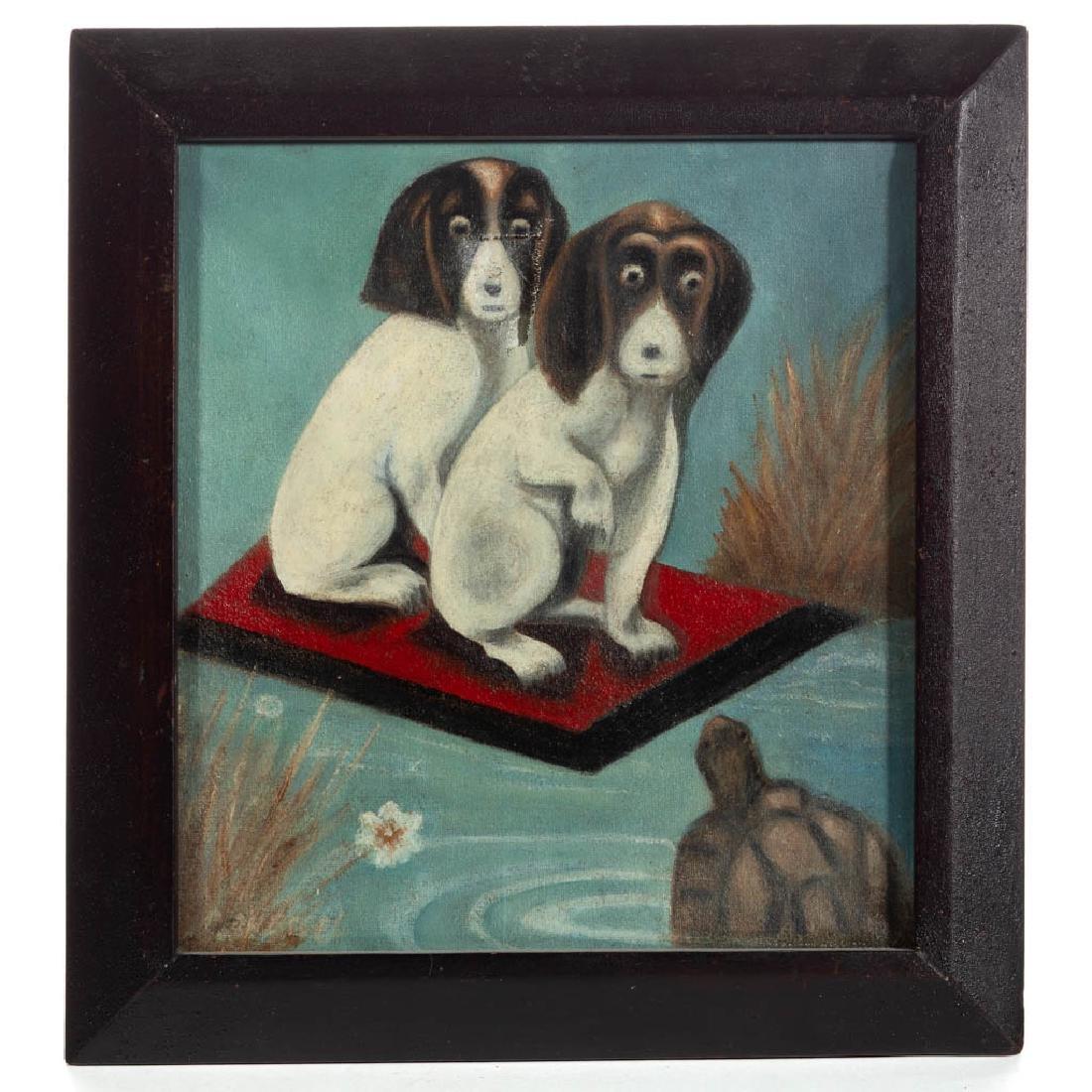 AMERICAN SCHOOL (20TH CENTURY) FOLK ART DOG PAINTING