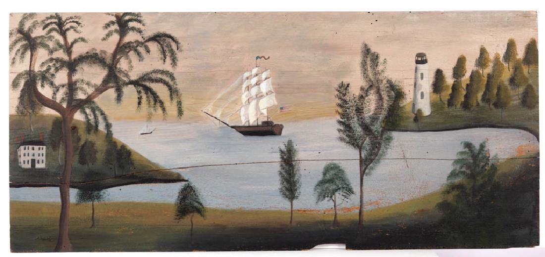 CONTEMPORARY FOLK ART PAINTED PINE OVERMANTEL PAINTING