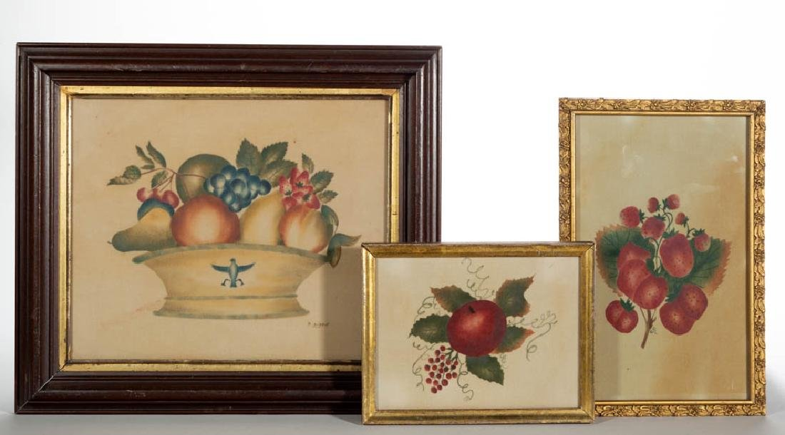 CONTEMPORARY FOLK ART FRUIT THEOREM PAINTINGS, LOT OF
