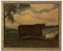 AMERICAN MODERN FOLK ART COW PAINTING