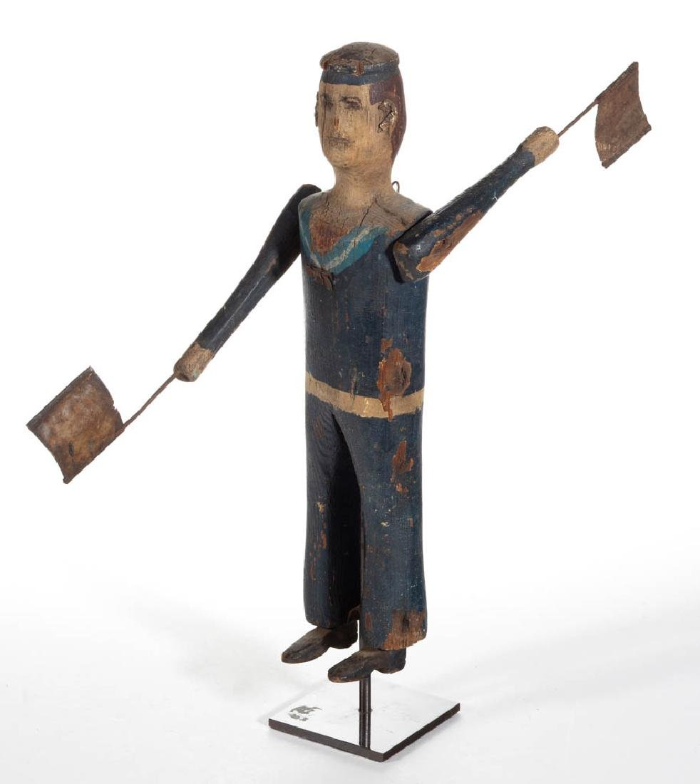 AMERICAN FOLK ART CARVED AND PAINTED SAILOR WHIRLIGIG