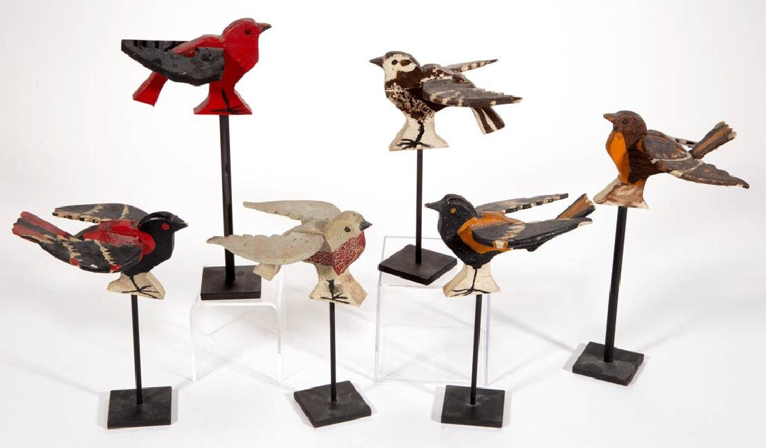 FOLK ART CARVED AND PAINTED WOOD BIRDS, LOT OF SIX
