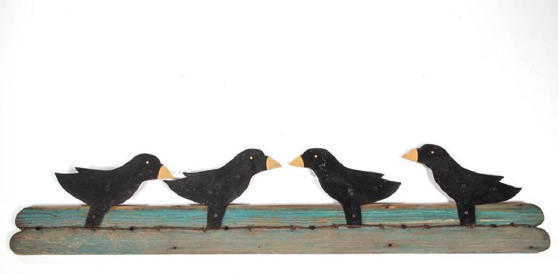 FOLK ART PAINTED TIN BLACK BIRDS
