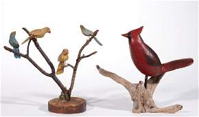 AMERICAN FOLK ART CARVED AND PAINTED WOOD BIRDS LOT OF