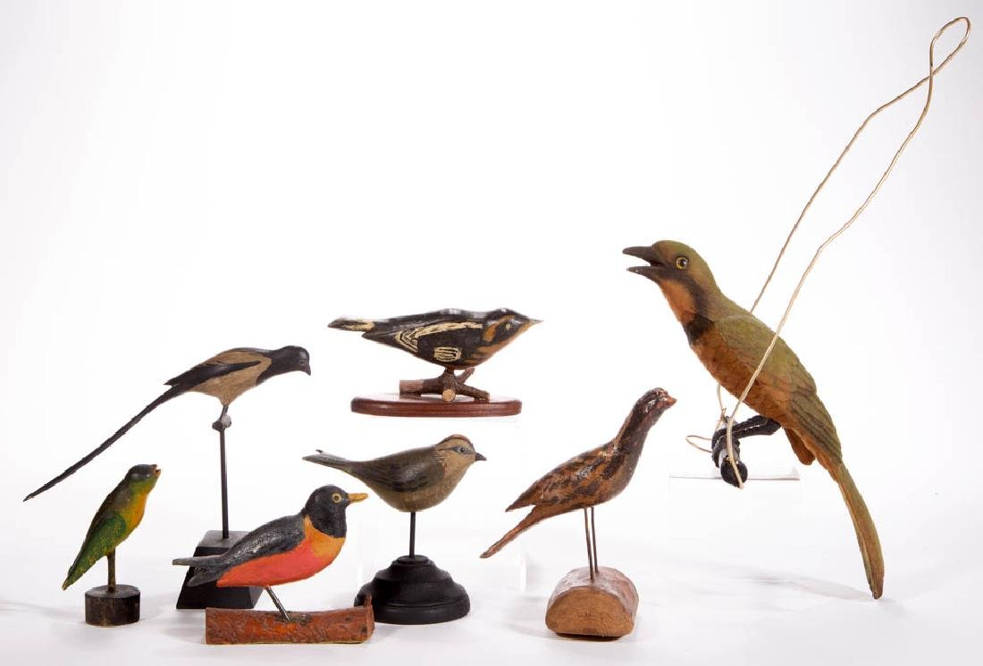 AMERICAN CARVED AND PAINTED MINIATURE BIRDS, LOT OF SIX