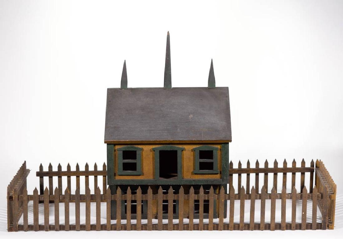 FOLK ART CARVED AND PAINTED HOUSE