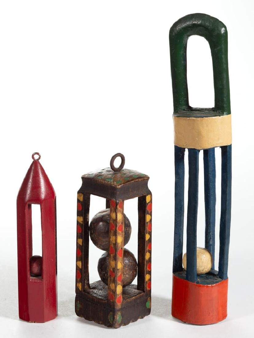 FOLK ART CARVED AND PAINTED WOOD BALL-IN-CAGE WHIMSIES,