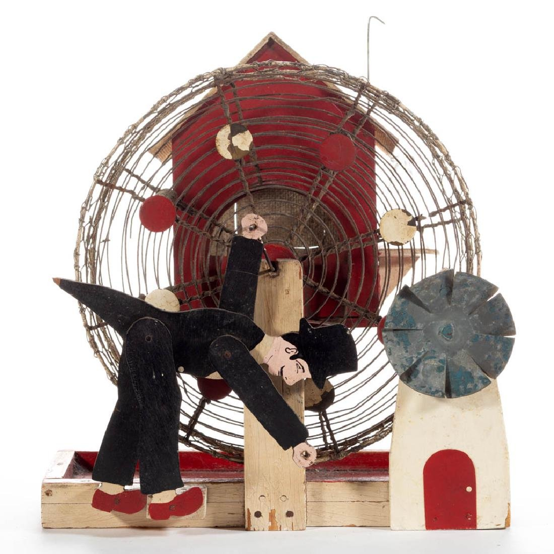 AMERICAN FOLK ART PAINTED WOOD MOUSE CAGE