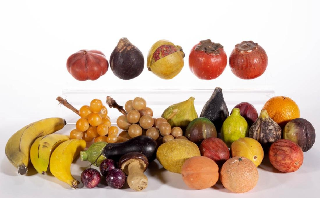 ASSORTED FIGURAL CARVED STONE AND OTHER FRUIT, LOT OF